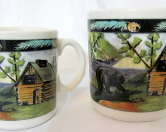 Vintage Syracuse China Cabin USA Restaurant Ware Diner Coffee Tea Cup Mug Bear Fish