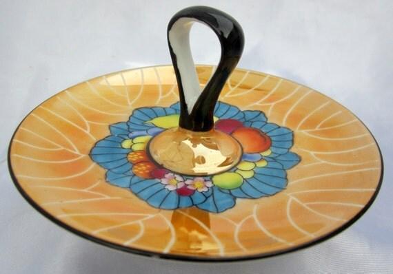 Lemon Plate Noritake Art Deco Handle Lusterware Trinket Ring Dish Fruit Marigold Hand Painted Candy Bon Bon