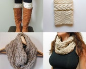2 Patterns - Grace Cable Boot Cuffs Pattern & Cable Cowl Infinity Scarf Knitting Pattern / Digital PDF Knitting Patterns