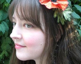 Shimmery Orange Icelandic Poppy Flower Headband- You Choose Headband, Clip, or Brooch- Embroidered Silk Flower Fascinator with Leaves