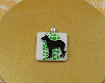 Black Greyhound Whippet Galgo Green Dots Pendant