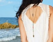 Back Drop Necklace Boho Body Jewelry  Bohemian Hipster Body Armor Arrow  Bronze Isabella Black Red Turquoise