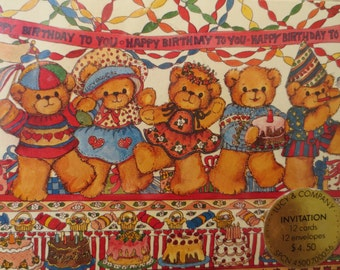 Vintage Invitations, Birthday Party, Birthday Invitations, Bears, Vintage Birthday Invites, Lucy & Company Invitations, NOS, Party Supply