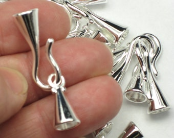 6mm Kumihimo Clasps, 2 or more silver plated hook & eyes, glue in style for braids, leather bracelets and necklace cord ends