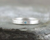 Blue Diamond Ring - Sterling Silver Band - Men's or Ladies Jewellery - Wedding Band - Engagement Ring - Matte Finish