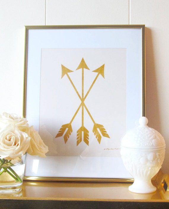 Gold Arrow Wall Decor : Gold arrow set print cream love cupid nursery decor