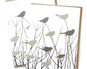 Single A2 size Flock of birds Greeting Cards, blank inside, rad original blackbird design, recycled paper, made in Portland Oreogn