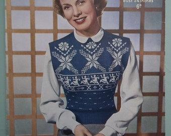 Original Vintage Knitting Pattern 1940s 1950s Women's Jerkin Sleeveless Sweater Jumper Pullover Norwegian Snowflake Design Sirdar No 1267 UK
