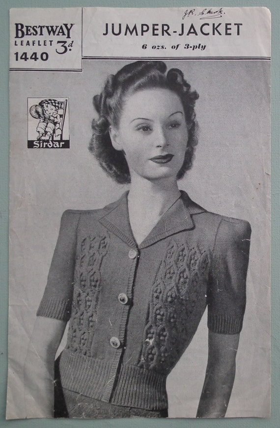 Vintage 1940s Knitting Pattern Womens Jumper by sewmuchfrippery
