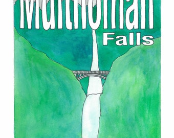Multnomah Falls - Travel Poster - Blank Greeting Card