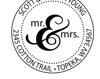 Mr. & Mrs. Custom Return Address Rubber Stamp