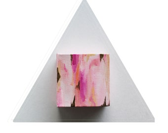Vein of Gold by Julie Tillman. abstract art, small chunky original painting art home decor pink white gold, Small format Art SFA
