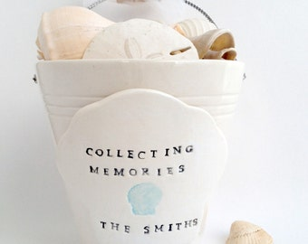Personalized ceramic beach pail housewarming, hostess, engagement gift, flower girl basket by Cathie Carlson
