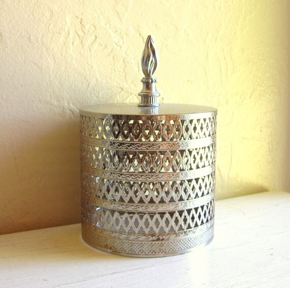 Vintage Silver Toilet Paper Roll Cover Tissue By Shabbynchic