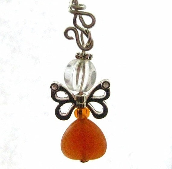 Butterfly Fairy Charm. Carnelian Rear View Mirror Charm, Zip Pull, Ornament, Purse Charm