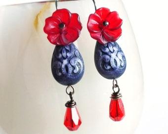 Purple Red Earrings Carved Bead Earrings Red Floral Earrings Vintage Beaded Dangle Earrings Victorian Jewelry