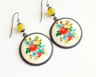 Large Floral Earrings Vintage Victorian Rose Flower Cameos Colorful Flower Jewelry Chunky Floral Vintage Style Jewelry