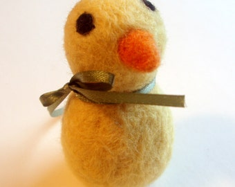 Felted Chick - Peeps the Chick - Easter Basket Plush - Waldorf Animal - Needle Felted Yellow Bird - Spring Decor