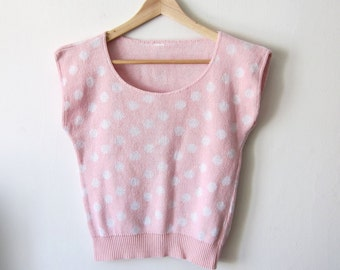 Pink & White Polka Dot 80's Sweater