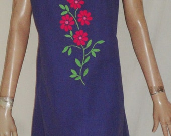 Vintage Mexican Embroidered Purple Sleeveless Shift Dress B40 Marilea