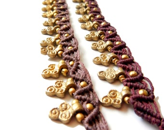 Macrame Anklet with Brass Trinity Swirl Charms - Brown, Maroon