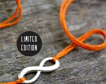 halloween infinity bracelet orange thread wish bracelet friendship bracelet silver infinity wishlet letterhappy etsy halloween jewelry