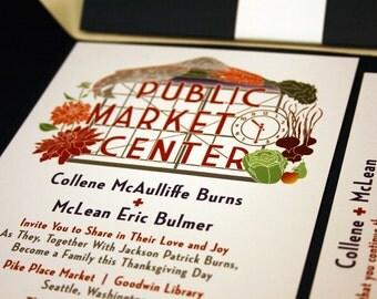Seattle Wedding Invitation, Pike Place Public Market, Mt Rainier, Dahlia Flowers, Northwest,Fruit, Salmon Fish, Navy, Grey, Red, Washington