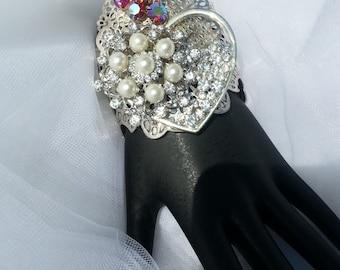 Fabulous Burning Heart Ex Voto Sacred Heart Cuff Bracelet Rhinestones