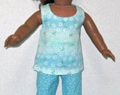 American Girl 18 Inch Doll Clothes  Aqua Blue Flower Top and Capri Set With Shoes    Doll Clothes