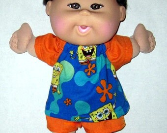Cabbage Patch, Naptime Babyland,  Doll Clothes,Sponge Bob Square Pants,  12  13  inch Doll Clothes, Blue and Orange  Made in USA
