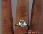 Asscher Cut 2.68 Carat 8mm Cubic Zirconia Ring Sterling Silver Solitaire Engagement Ring Promise Ring CZ Ring Faux Diamond Jewelry Sizes 3-9