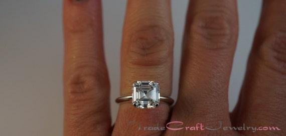 Asscher Cut 2 68 Carat 8mm Cubic Zirconia Ring Sterling Silver
