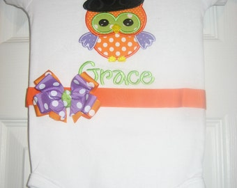 Baby Girl Halloween owl bodysuit, fall bodysuit, fall outfit, halloween outfit, personalized