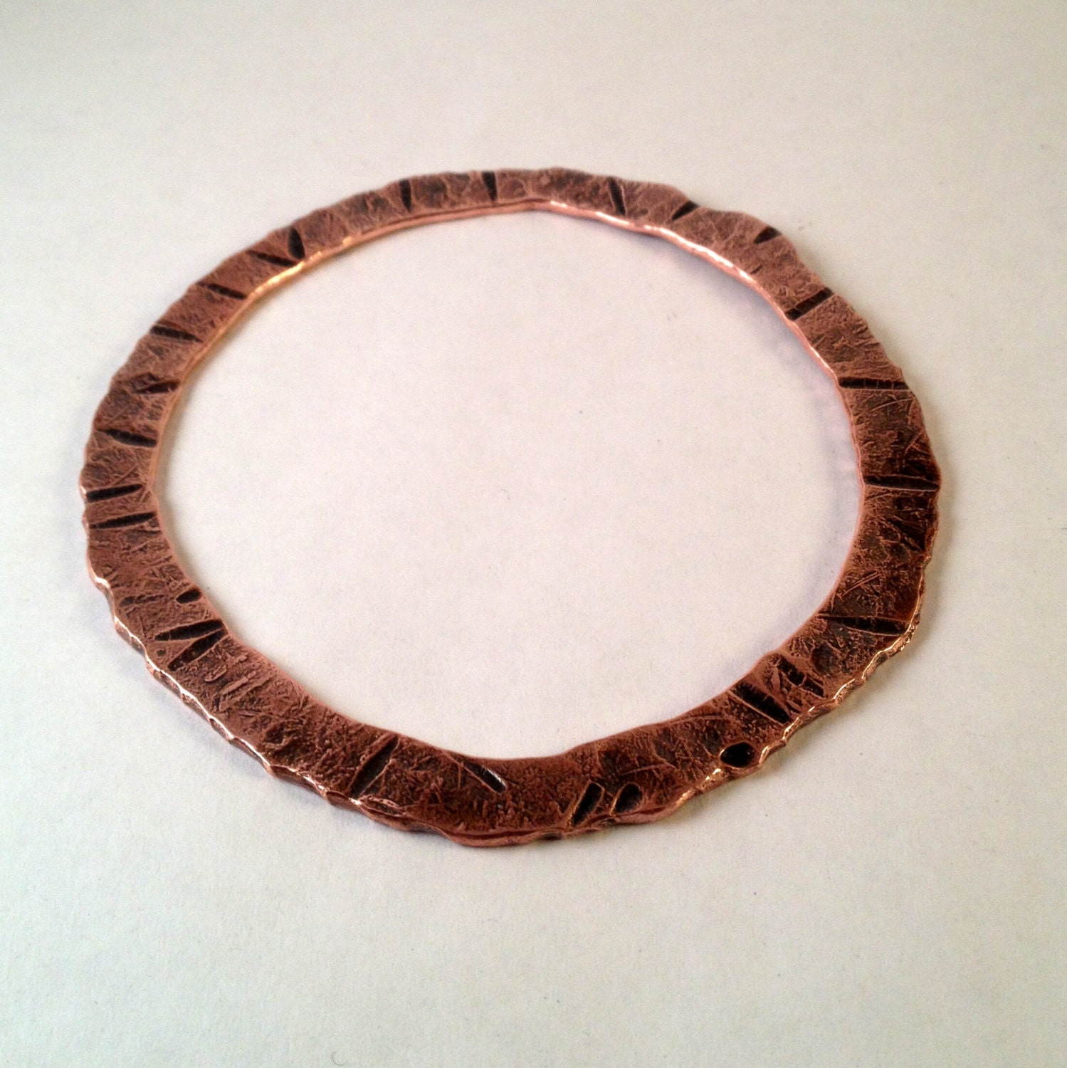 Primitive forged copper bangle bracelet