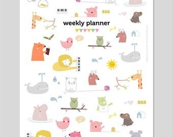 PDF Printable Weekly Planner - cute animal illustrations