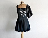 Upcycled Clothing One Sleeve Women's Black Top Industrial Modern Reconstructed Clothes Peplum Shirt Ladies Eco Fashion M/L 'CRISSY'