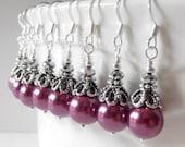 Mulberry Bridesmaid Jewelry Plum Pearl Dangle Earrings Fall Weddings Purple Bridal Jewelry Sets Beaded Bridesmaid Earrings Guinevere