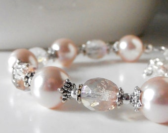 Bridesmaid Jewelry, Pink Pearl Bracelet, Antiqued Silver, Pearl Wedding Jewelry, Pale Pink Czech Glass, Beaded Bridesmaid Bracelet Gift