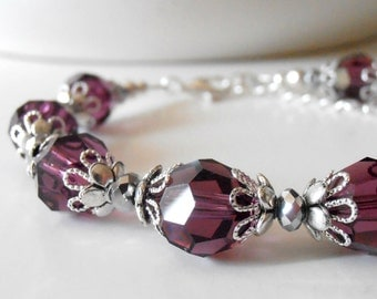 Amethyst Crystal Bracelets Purple Bridesmaid Jewelry Fall Weddings Swarovski Crystallized Elements Plum Bridal Jewelry Sets Handmade