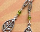 LEAF TEARDROP Charm Earrings Green Crystal Silver Plated Lever Back Boho