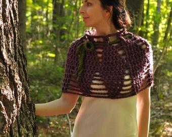 Crochet chunky openwork capelet poncho shoulder warmer cowl in purple fig - Lotus Flower - fall fashion bridal bridesmaid cape poncho