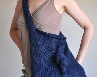 Knit Knot Bag - designer hand knit UNISEX shoulder bag hobo tote crossbody messenger bag school bag nautical navy blue or CHOOSE your COLOR