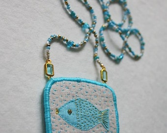 """Textile Necklace """"One fish"""", hand embroidery textile jewellery"""