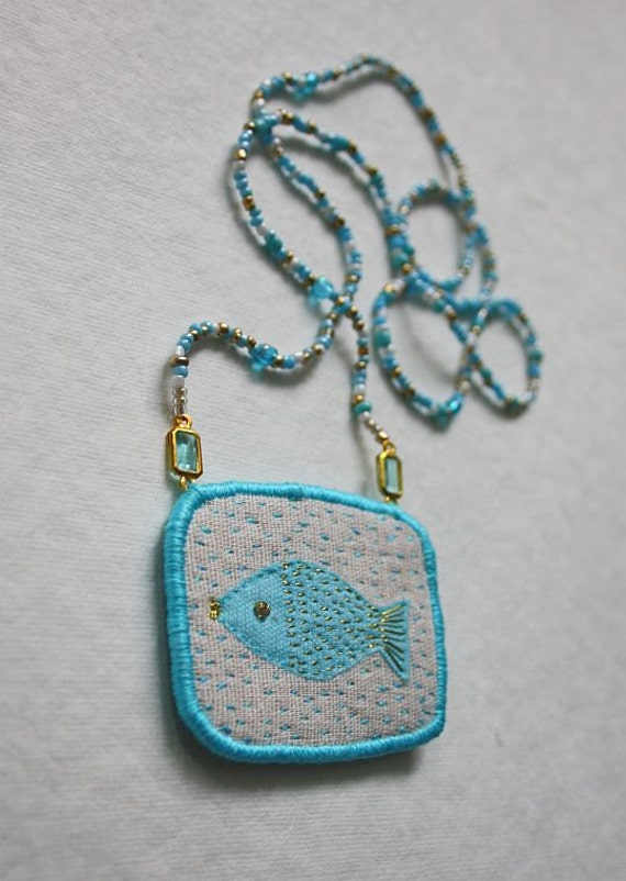 "Textile Necklace ""One fish"", hand embroidery textile jewellery"