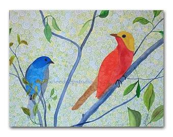 Colorful Birds Contemporary Watercolor Painting 9x12 Fine Art in Mat original cheerful summer songbirds spirals modern art for bird lover