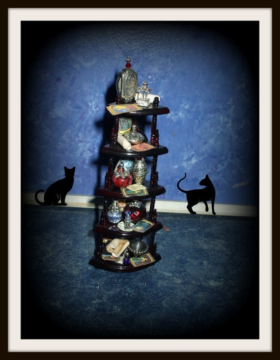 Reserved   dragonintherain  Gothic Witch spell hutch dollhouse miniature corner shelving ooak gypsy