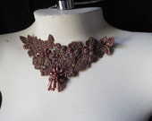 Mocha Lace Applique with Beadwork for Jewelry or Costume Design CA 755mocha