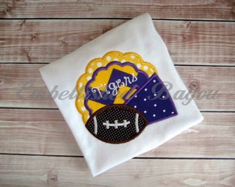 Megaphone and Football Applique Ruffle T-shirt for Girls, Go Tigers or YOUR team