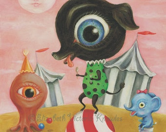 Black Dog Painting, Circus Art Print, Carnival, Pop Surrealism, EVK
