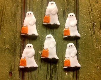 "Edible Fondant ""Trick-or-Treat Ghosts""-Set of 12 Cake/Cupcake Toppers"